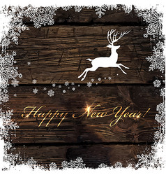 Happy New Year Golden Greeting on Wooden vector image