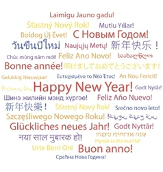 Happy New Year in different languages vector image