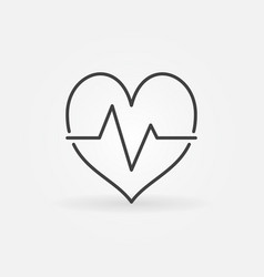 heartbeat icon in minimal outline style vector image