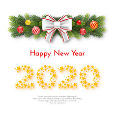 holiday new year gift card with numbers 2020 vector image