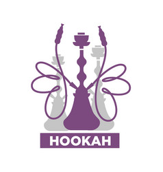 Hookah lounge bar isolated emblem with shisha vector