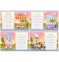 ice cream and cotton candy set vector image