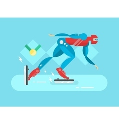Ice speed skater cartoon character vector image