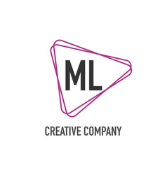 initial letter ml triangle design logo concept vector image
