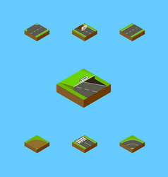 Isometric road set of repairs strip bitumen and vector