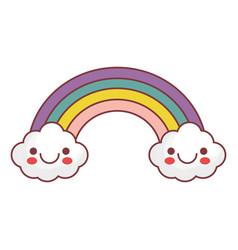 kawaii rainbow icon vector image