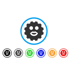 kiss smiley gear icon vector image