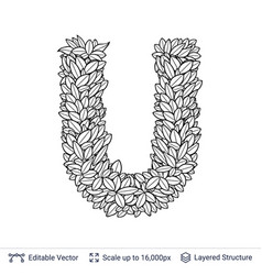letter u symbol of white leaves vector image