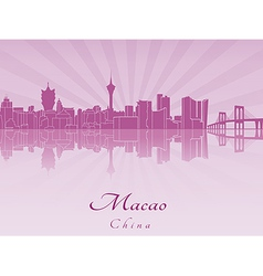 Macao skyline in purple radiant orchid vector