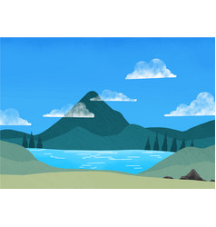 Meadow green grass lake trees mountain and sky vector