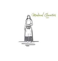 Medieval woman dress costume ancient concept vector