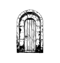 Middle age vintage door vector