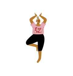 Plump woman in tree pose curvy girl practicing vector