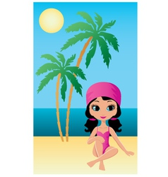 Pretty girl on beach vector