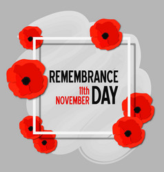remembrance day paper cut poster with poppy vector image