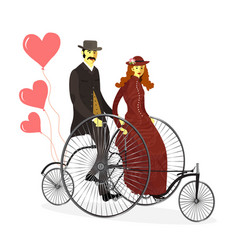 Retro loving couple on bicycles with balloons vector