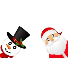 Santa Claus and Christmas snowman on a white vector