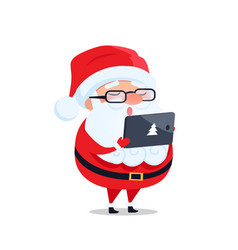 Santa claus glasses digital tablet reads wish list vector