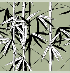 seamless pattern background with hand drawn bamboo vector image