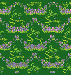 Seamless pattern with flowers and calligraphic vector
