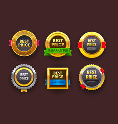 set best price guarantee icons isolated round vector image