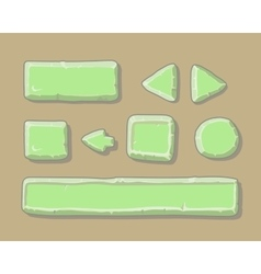 set cartoon green buttons for web or game vector image