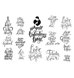 set letterings valentines theme vector image