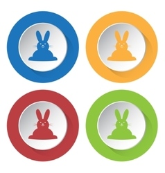 Set of four icons - easter bunny vector