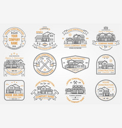 Set of house construction company identity with vector