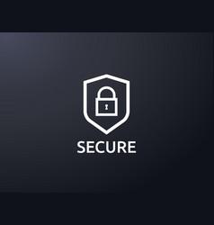 Shield line icon privacy data protection vector