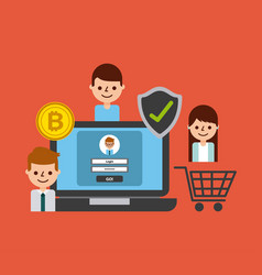 Shopping online laptop secure bitcoin people vector