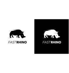 simple and cool running rhino logo vector image