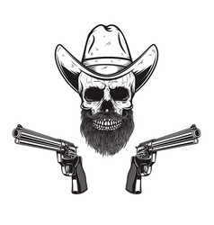 skull in cowboy hat with revolvers design element vector image