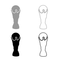 soccer cup icon set grey black color vector image