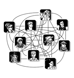 Social network people connection avatars vector image
