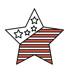 Star with usa flag icon vector