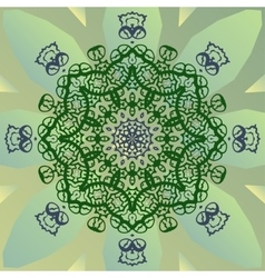 Stylized mandala star on green banner vector image