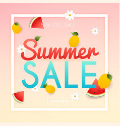 summer sale banner poster flyer slices of vector image