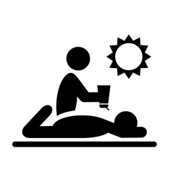 Summertime Pictograms Flat People with Sunscreen vector