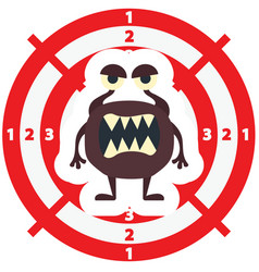 Target with brown monster flat style vector