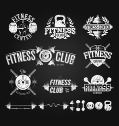 Typographic fitness emblems chalk drawing vector