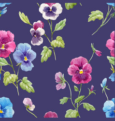 Watercolor pansy flower pattern vector