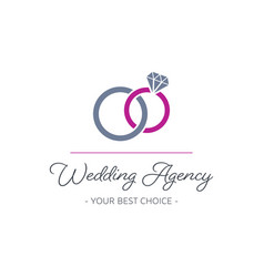 wedding agency logo design with rings vector image