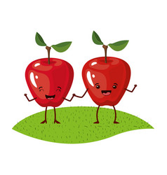 White background with realistic pair of apple vector