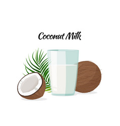 Whole and a half coconuts and a glass coconut vector