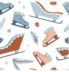 winter activities seamless pattern vector image
