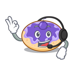 With headphone donut blueberry mascot cartoon vector