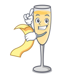 with menu champagne mascot cartoon style vector image