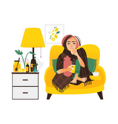 Woman having flu sitting sick at home vector