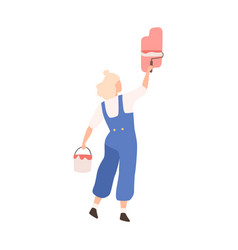 woman with bucket paint and roll depict vector image